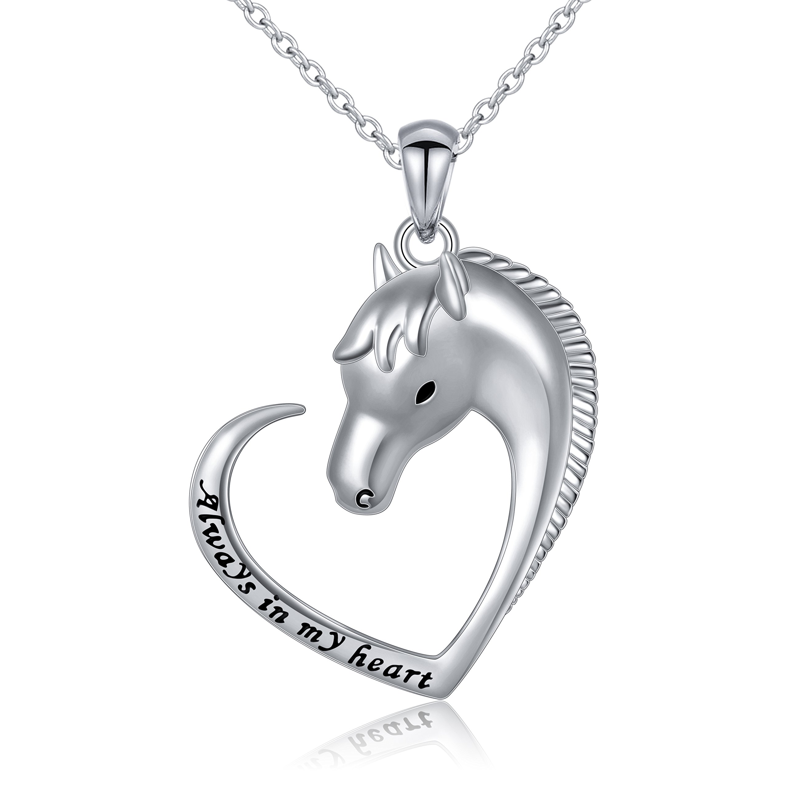 DAOCHONG Horse Jewelry Sterling Silver Engraved Always in My Heart Lucky Horse Heart Necklace Gift for Mother, 18''