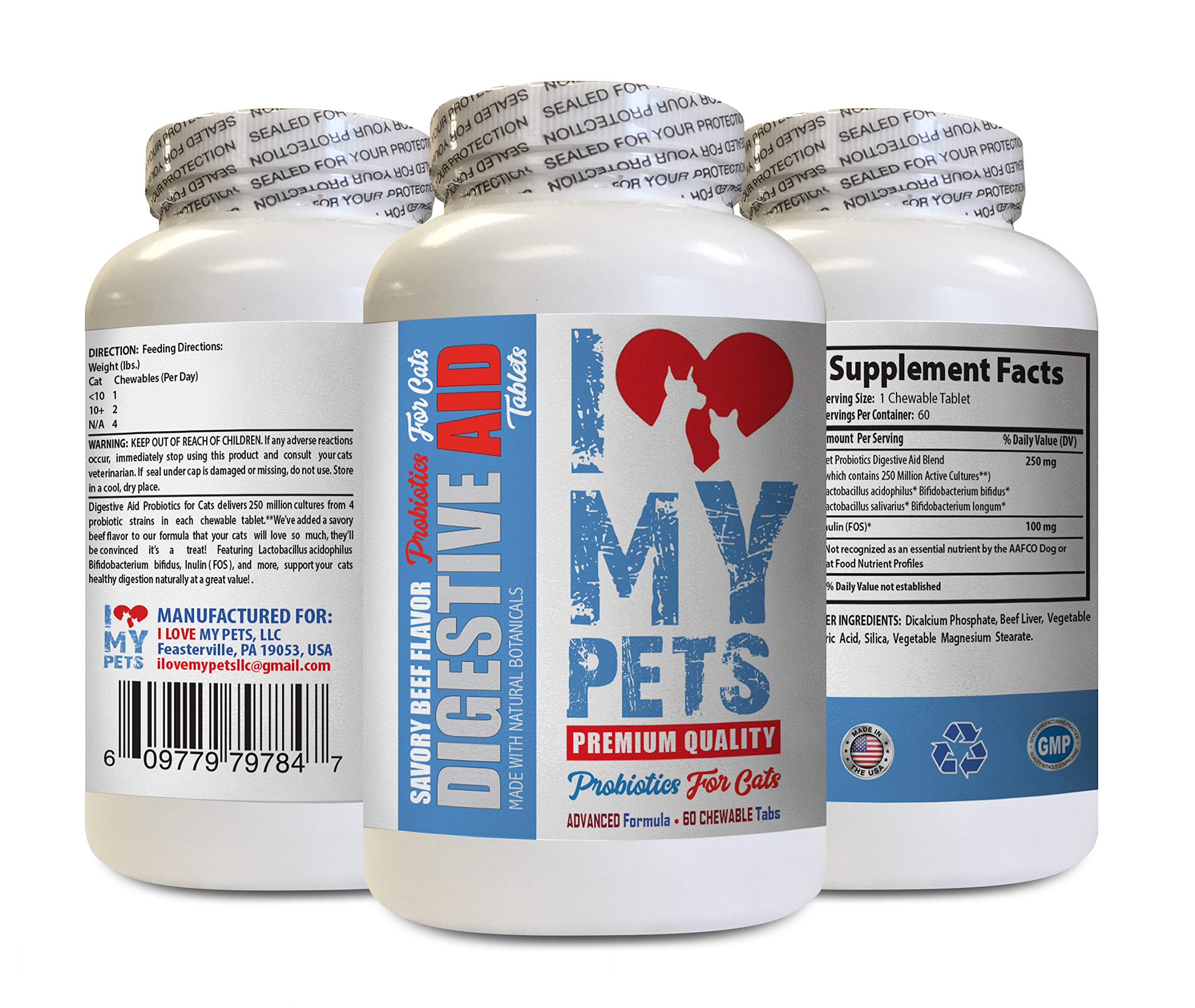 I LOVE MY PETS LLC cat probiotic for Constipation - CAT Digestive AID - Healthy PROBIOTICS - Chews - Digestive enzymes Cats - 60 Treats (1 Bottle) by I LOVE MY PETS LLC