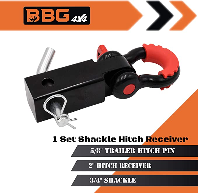 5//8 Trailer Hitch Pin Lock for SUV Truck Jeep BBG4x4 Shackle Hitch Receiver 2 inch Includes 3//4 D Ring Shackle
