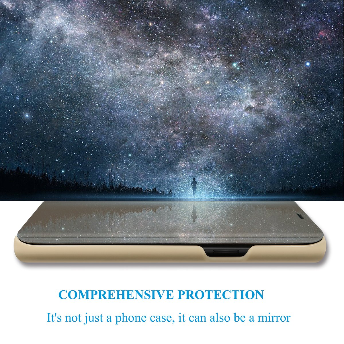 Case for Huawei Y7 2018 Translucent Mirror Screen Cover Flip Stand Hard  Plating Shell for Huawei Y7 2018