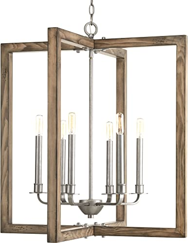Progress Lighting P4761-141 Transitional Six Light Chandelier from Turnbury Collection in Pwt, Nckl, B S, Slvr, Galvanized Finish
