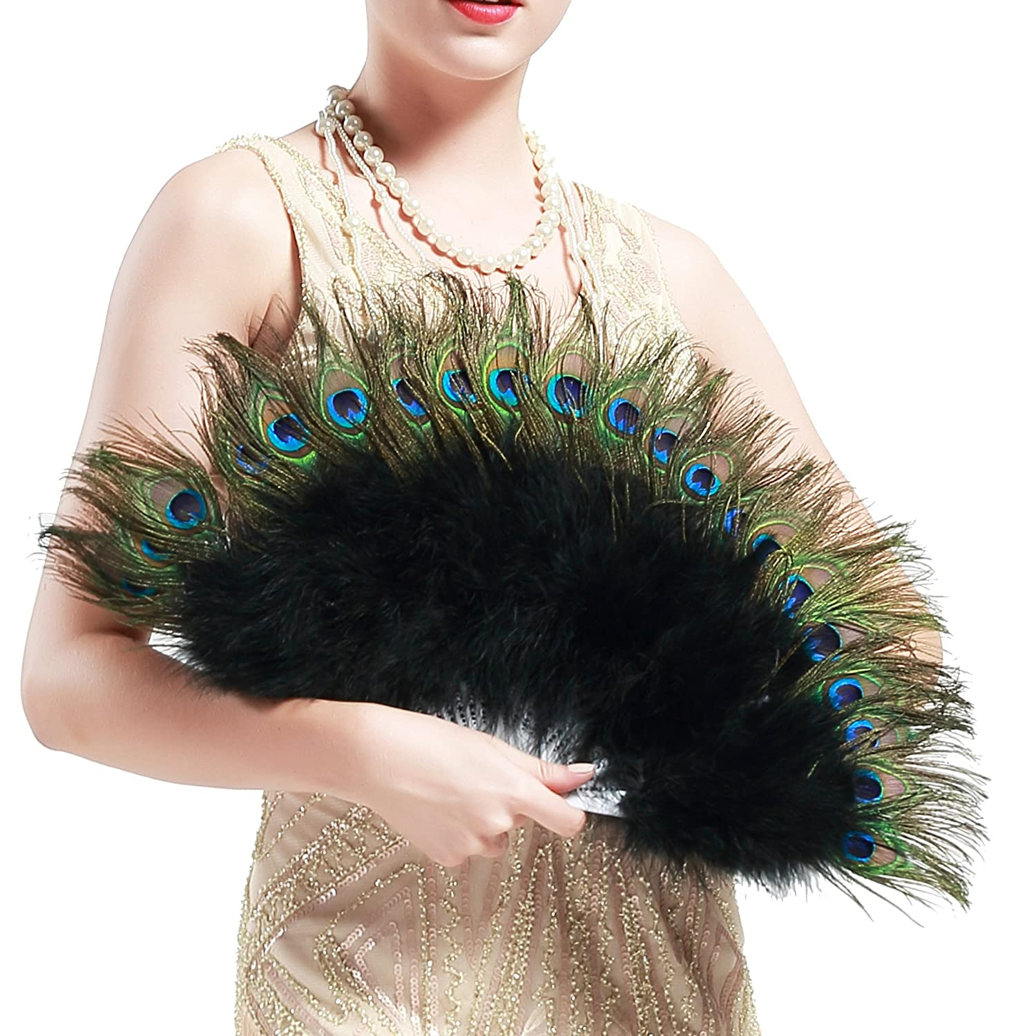 Edwardian Gloves, Handbag, Hair Combs, Wigs BABEYOND Roaring 20s Vintage Style Peacock & Black Marabou Feather Fan Flapper Accessories (15 L & 27