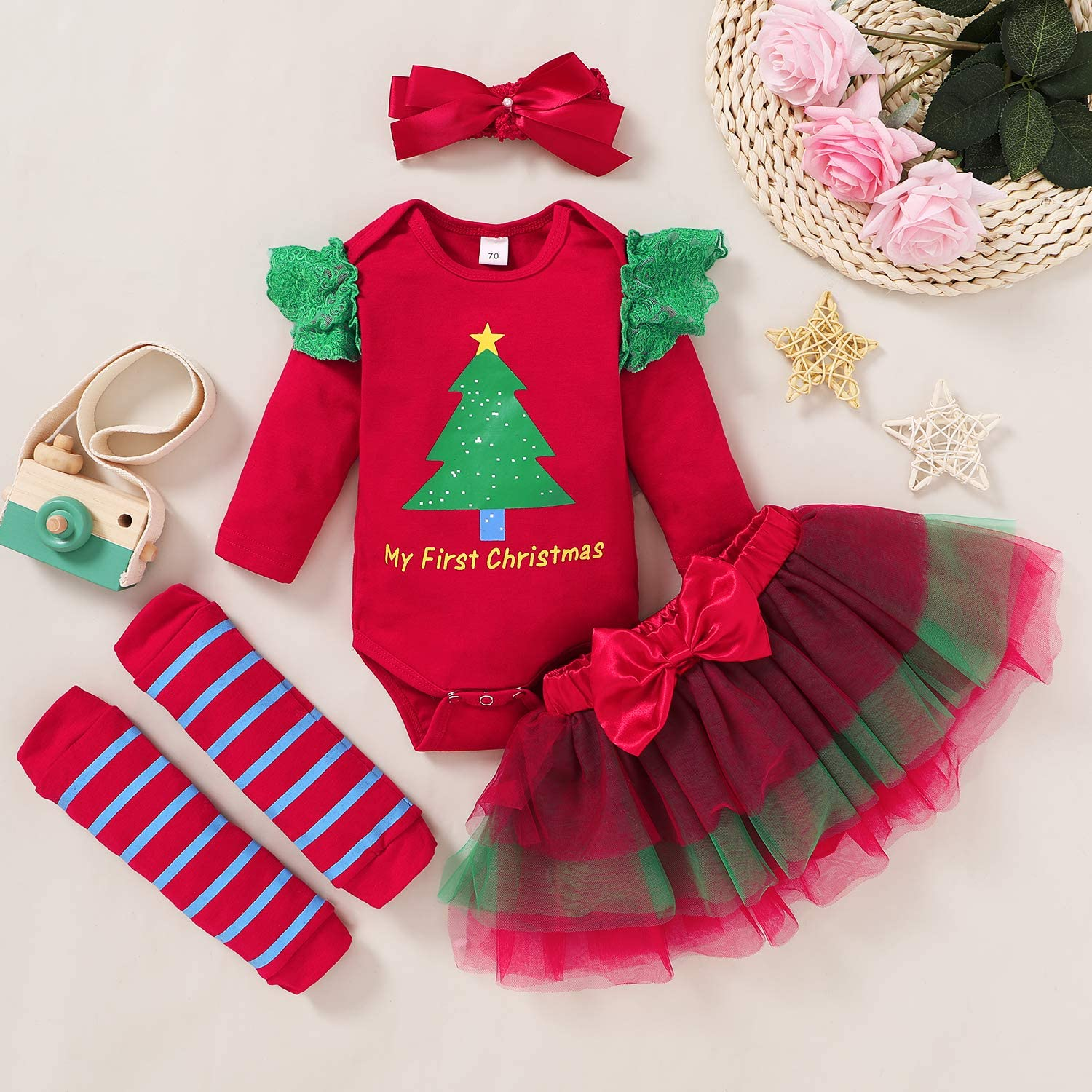 Baby Girl My First Thanksgiving Outfit Turkey Letter Romper+Tutu Skirt+Leg Warmers+Headband Clothes Set Fall