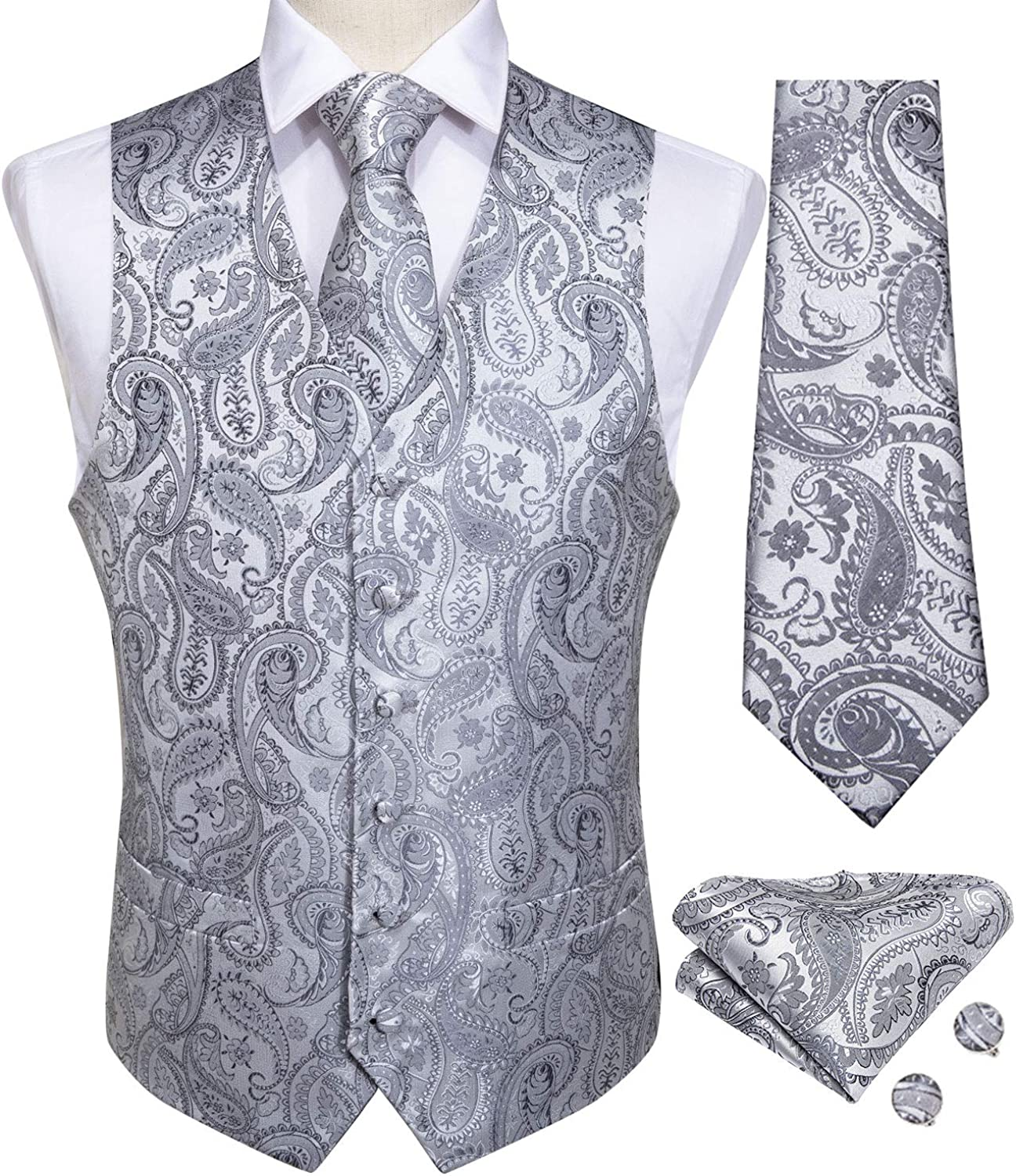 Mens Wedding Paisley Suit Vest, Waistcoat Necktie and Pocket Square Cufflinks Big and Tall