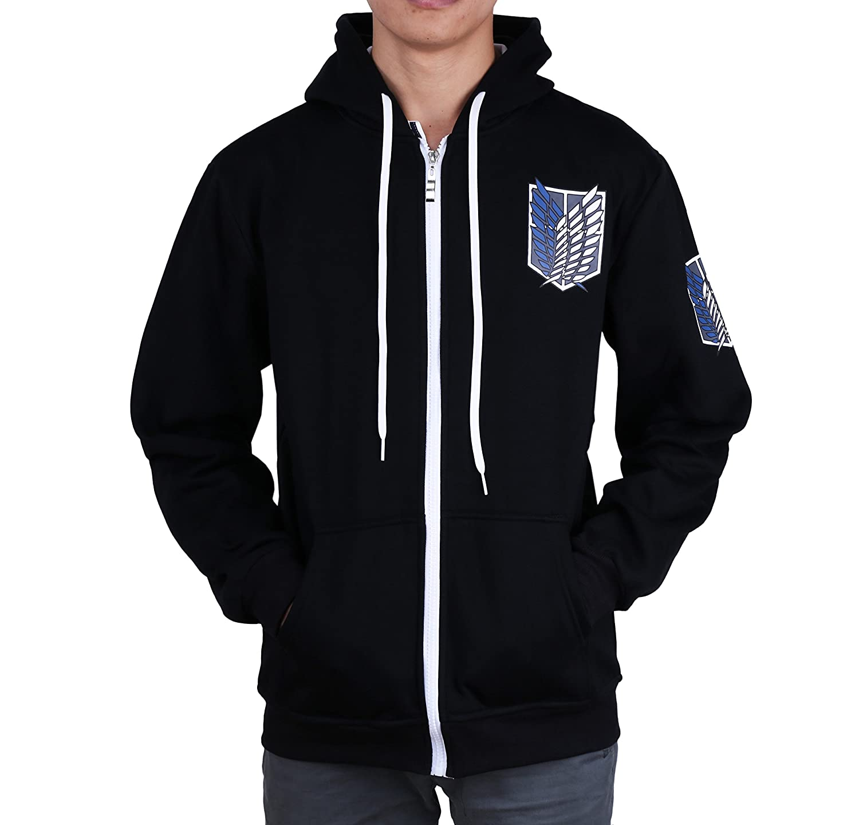 Shingeki No Kyojin Attack On Titan survey corps wing logo cosplay costume zipper hoodie with hat