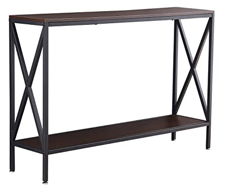 Console Table, Ticova 47 Entryway Hallway Table with Sturdy X-Frame, Textured Walnut Sofa Table, Easy Assembly