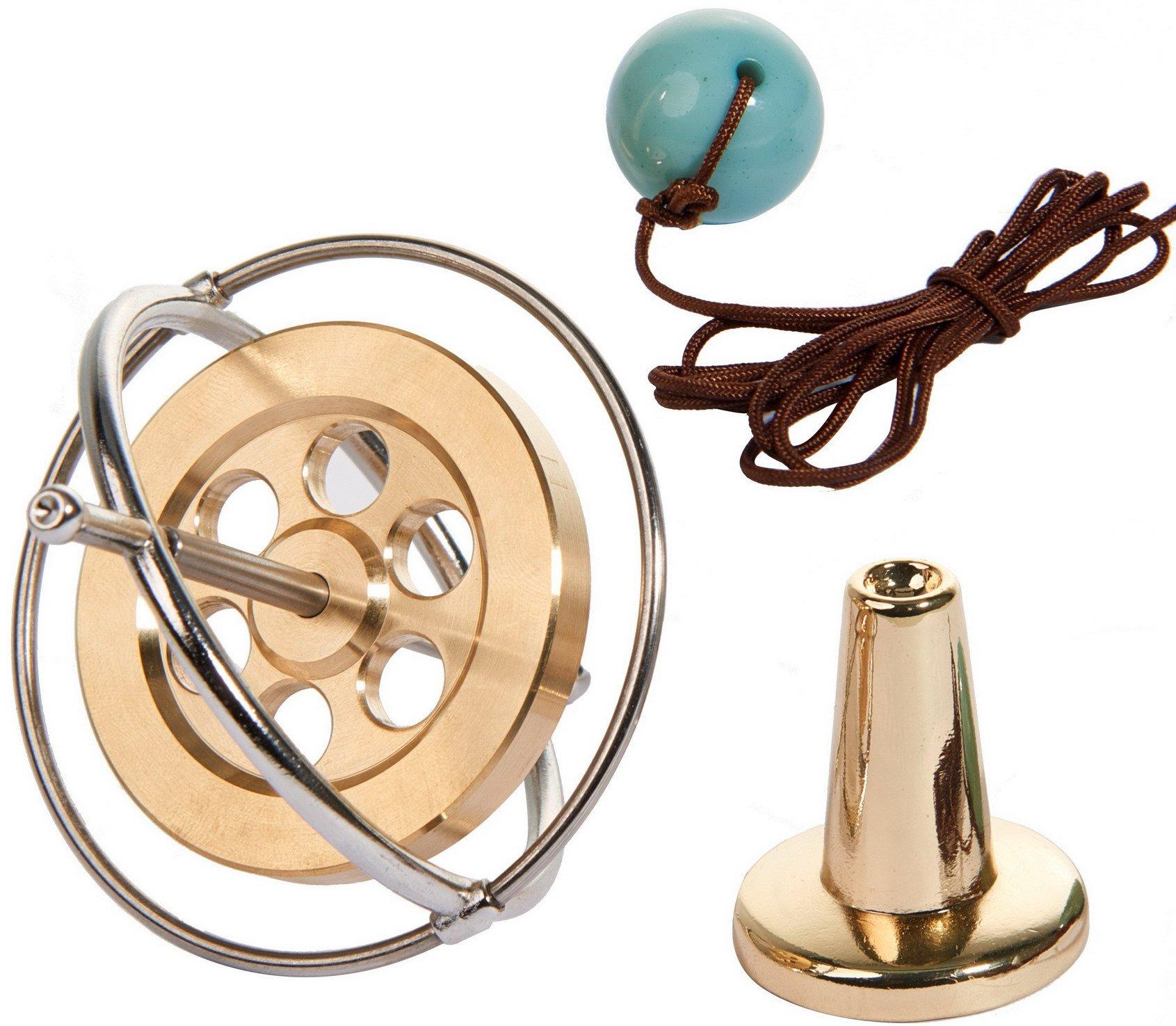 Joytech Precision Gyroscope Metal Balance Toy Brass Holed Silver Rim Spinning Top Gift WK003