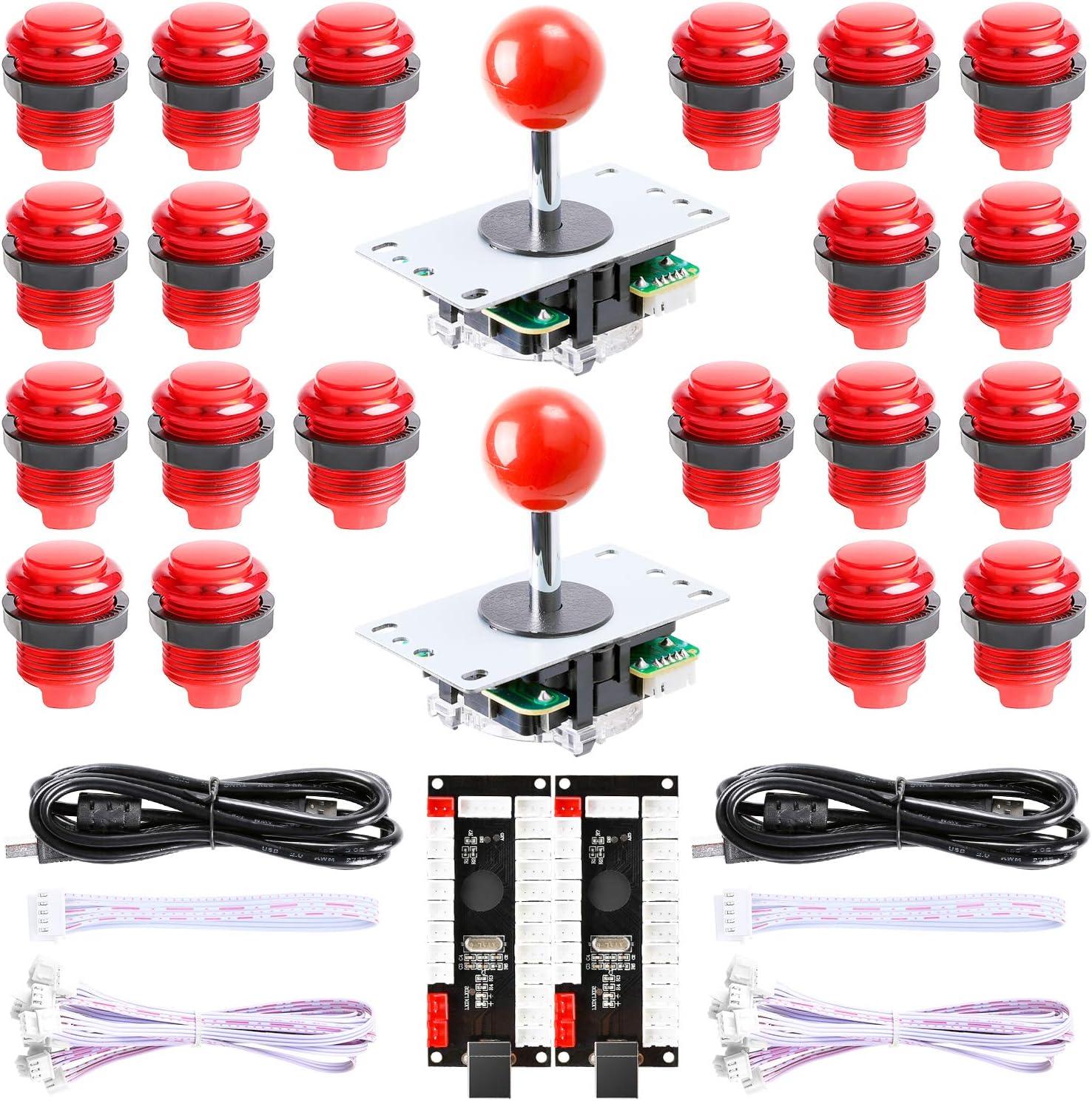 Hikig New Updated Version 2-Player LED Arcade DIY Kit - 2X Zero Delay LED USB Encoder + 2X Arcade Joystick + 20x LED Arcade Buttons for MAME, PC, Windows, Raspberry Pi, Arcade1Up (All Red Kit)