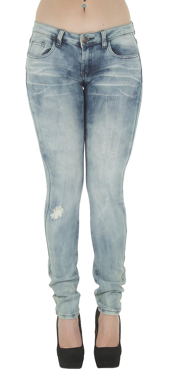 16238 – Women's Juniors Low Rise Distressed Destroyed Premium Skinny Jeans