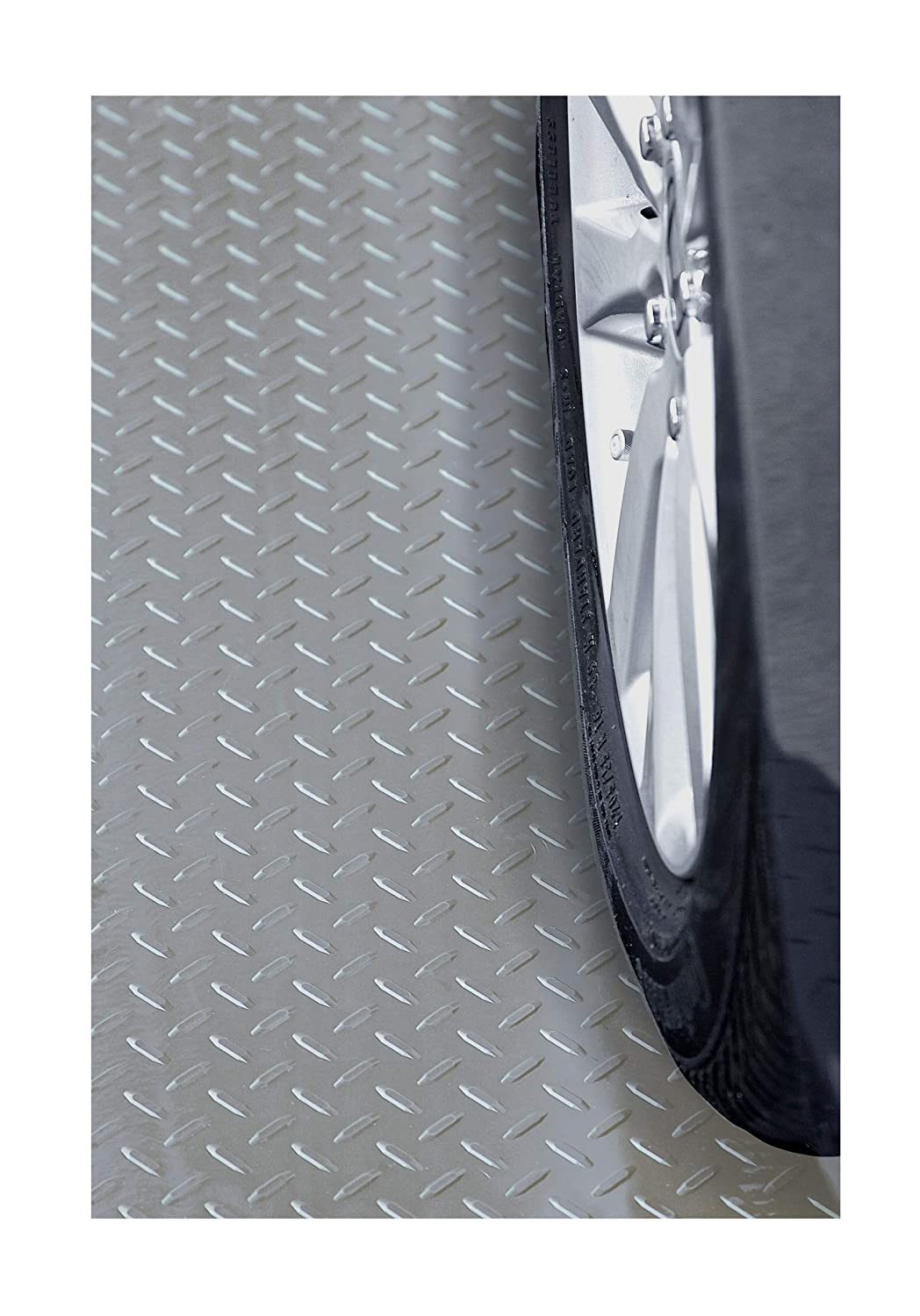 Embossed Diamond Plate Pattern Resilia Silver Garage Floor Runner//Protector 4 x 15 48 inches Wide