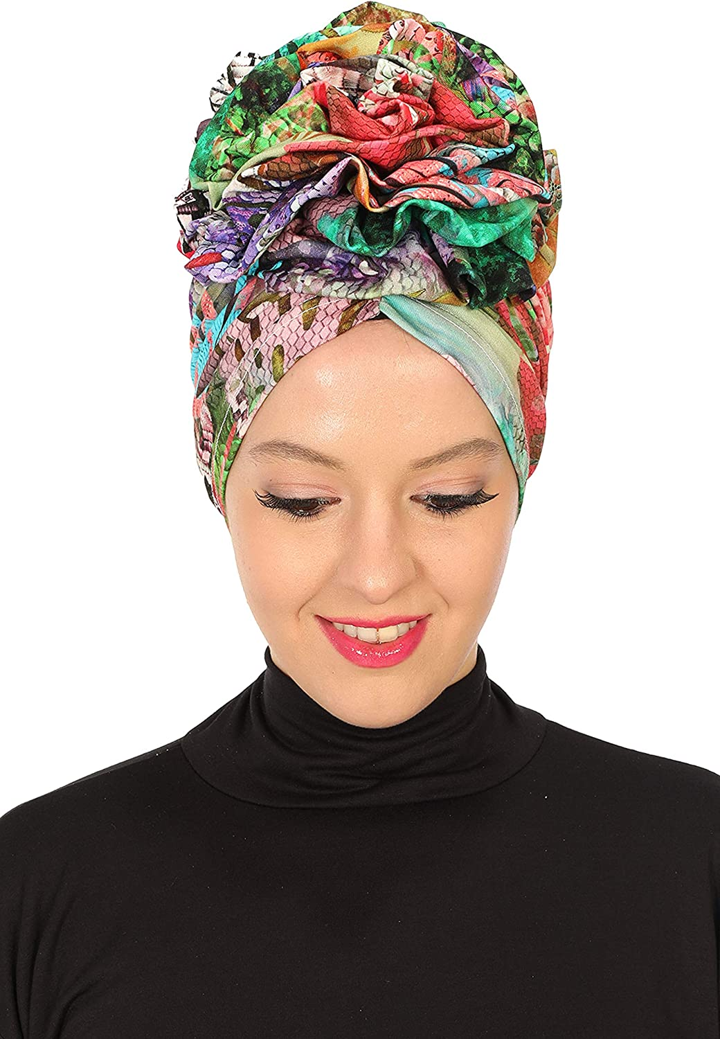 Instant Turban Cotton Scarf Head Wrap Scarfs For Women Hat Rose Detail