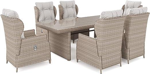 ARTELIA Bariya L - Conjunto de muebles de jardín de polirratán, conjunto de mesa de comedor, juego