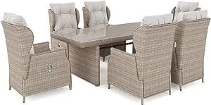 ARTELIA Bariya L - Conjunto de muebles de jardín de polirratán, conjunto de mesa de comedor, juego de muebles de jardín premium para jardín, jardín de invierno y balcón, muebles de balcón,