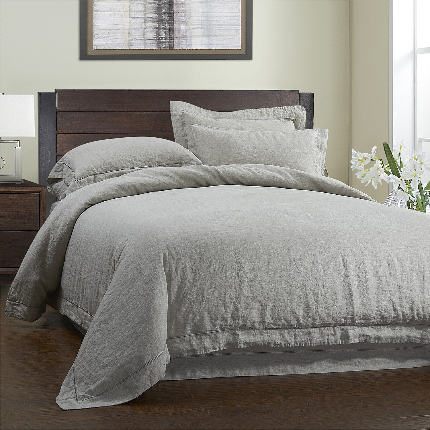 Simple&Opulence 3 Piece Solid 100% Linen Duvet Cover Set (Full, Grey)