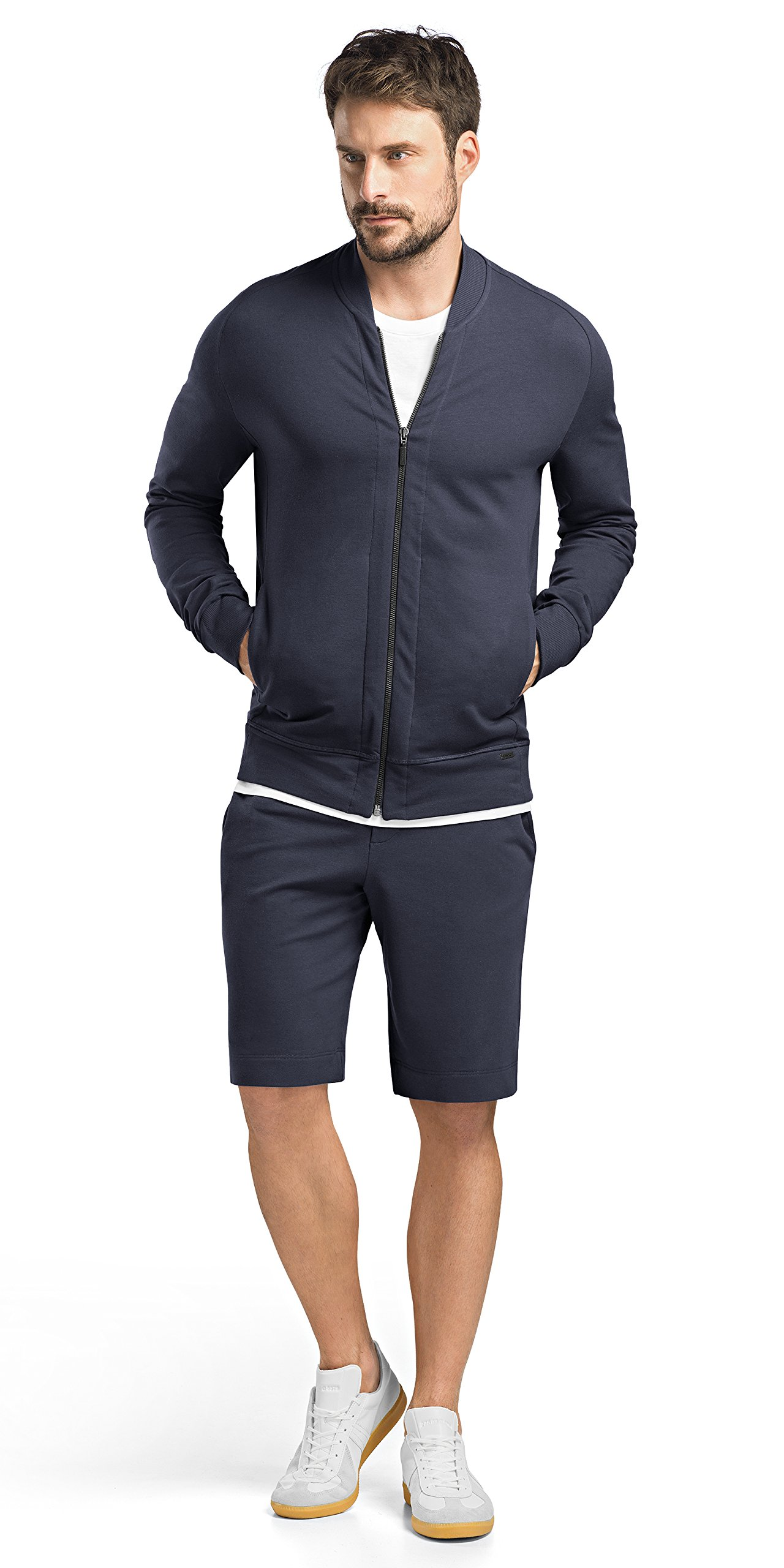 Hanro Men's Living Zip Jacket, Black Iris, X-Large by HANRO