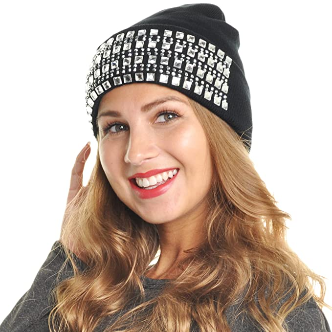 12a04e8e3c8 Angelina Women s Rhinestone Knit Beanies