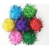 VAPKER 30 Piece Assorted Color Sparkle Balls Cat's Favorite Toy Tinsel Pom Poms Glitter