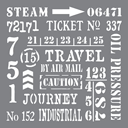 Andy Skinner Mixed Media Industrial Elements Stencil Grey 8 x 8-inch