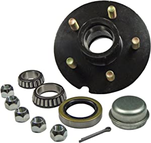 "Rigid Hitch Trailer Hub Kit - for 1-3/8"" Inner / 1-1/16"" Outer Tapered Spindle - 5 Bolt on 4-1/2"" Bolt Circle"