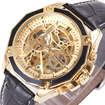 Caluxe Luxury Men Automatic Mechanical Skeleton Watch Genuine Leather Band Waterproof Wristwatch (Black-Golden