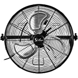 Simple Deluxe 20 Inch High Velocity 3 Speed, Black Wall-Mount Fan