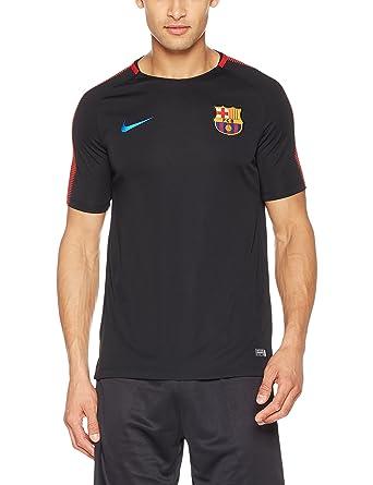 4d35d466 Nike Mens FCB Barcelona Short Sleeve Training Top Black/University Red  854253-011 Size