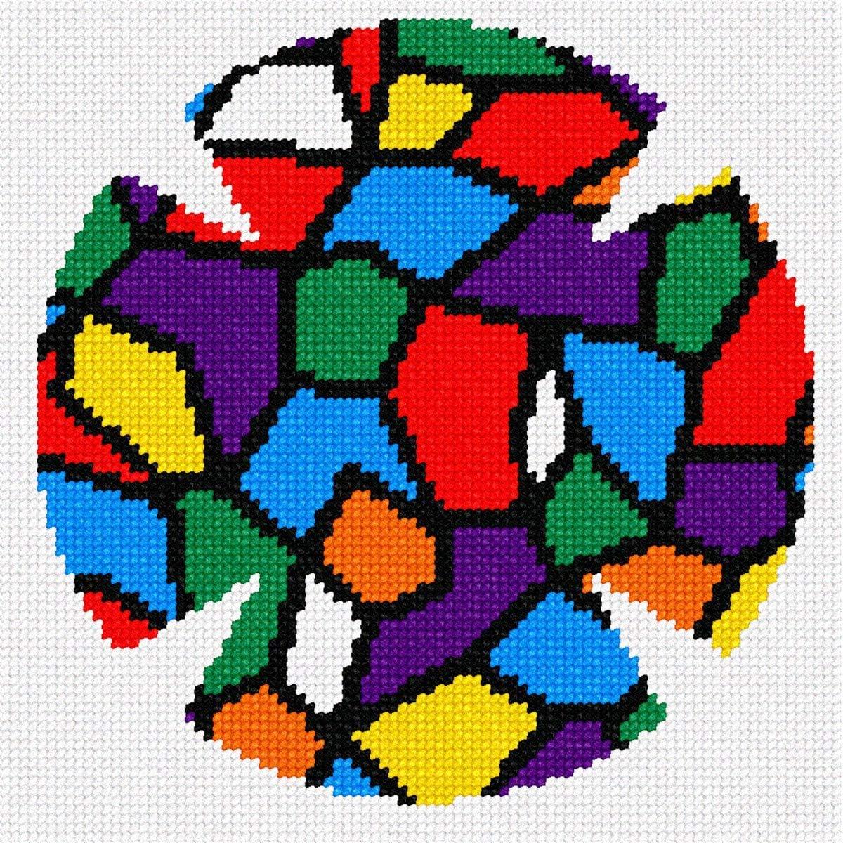 Needlepoint Kit pepita Yarmulka Stained Glass Colors Large