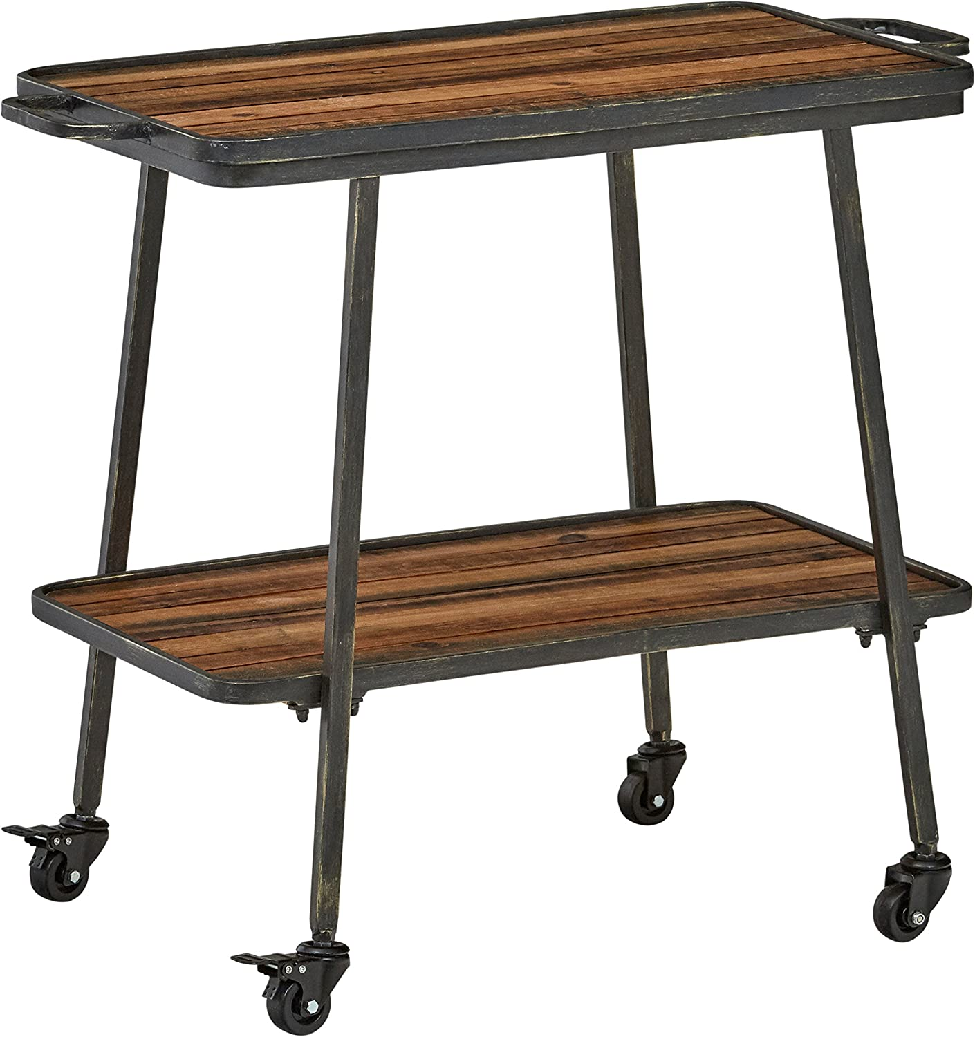 Rivet 2-Tiered Industrial Kitchen Rolling Bar Cart with Wheels, 32.3 W, Natural, Black