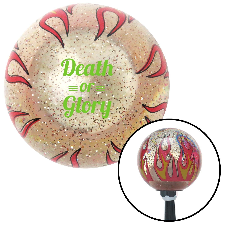 Green Death Or Glory Clear Flame Metal Flake American Shifter 296183 Shift Knob
