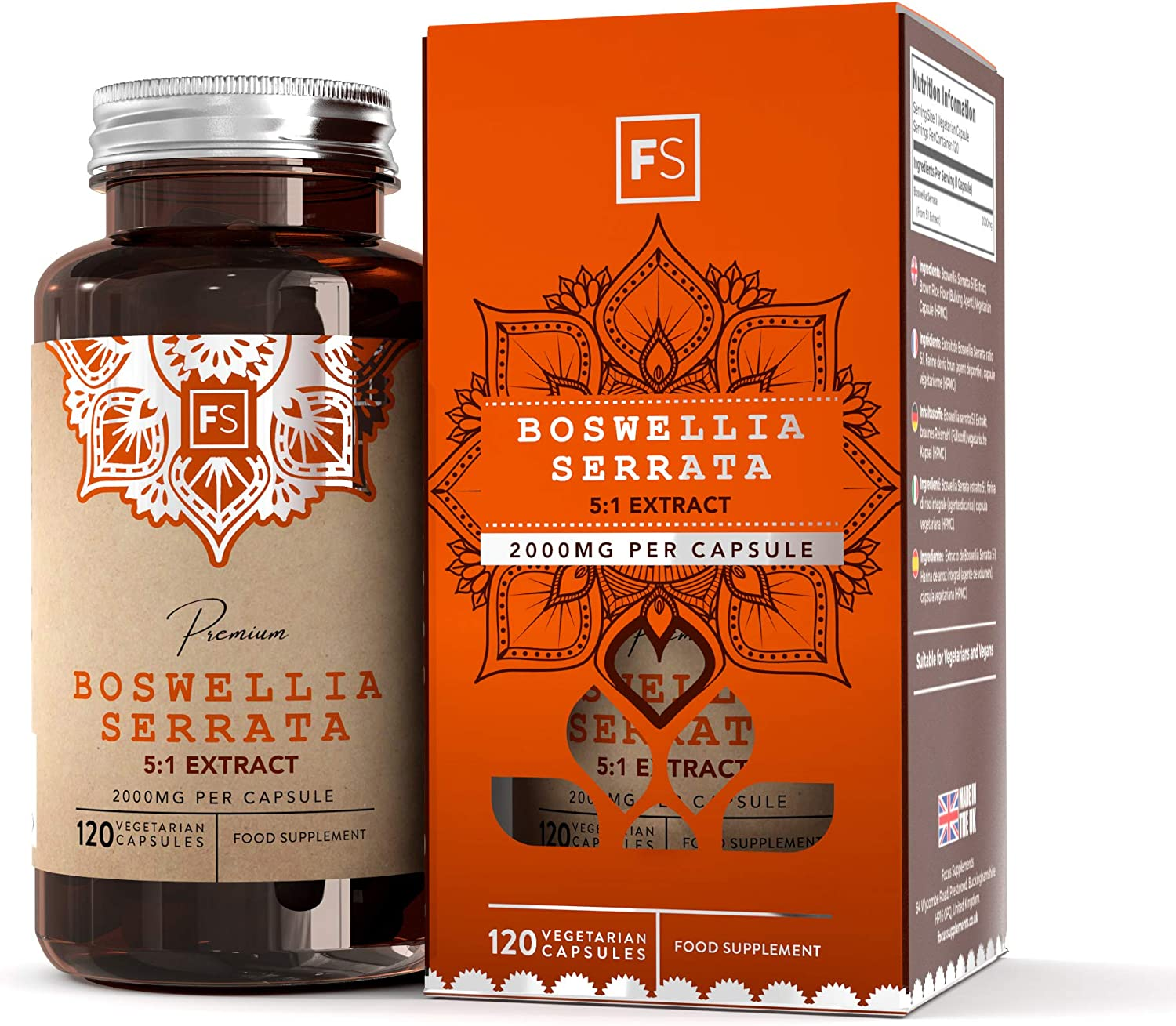 FS Boswellia Serrata 2000mg | Incienso DE ALTA RESISTENCIA - Sin Aditivos Sintéticos | Potente Anti Inflamatorio Para Salud de las Articulaciones | Sin OGM, Gluten o Lácteos | 120 Capsulas Veganas