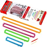 LAYOER Spool Long Knitting Loom Set with Hook Needle Kit for Yarn Cord Knitter 4 Looms (Long)
