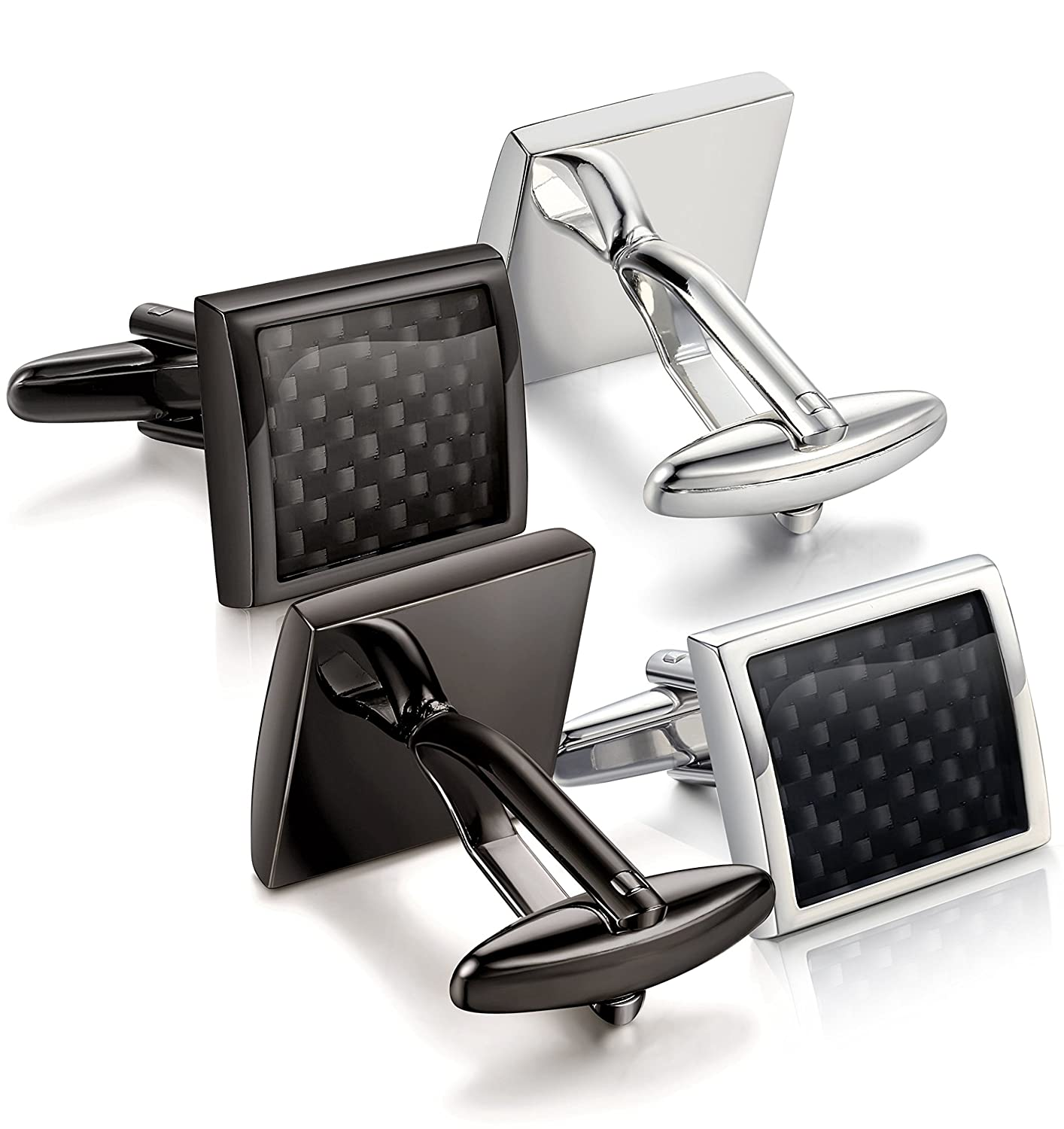 Jstyle Carbon Fiber Cufflinks for Men Shirt Celtic Unique Business Wedding C9168
