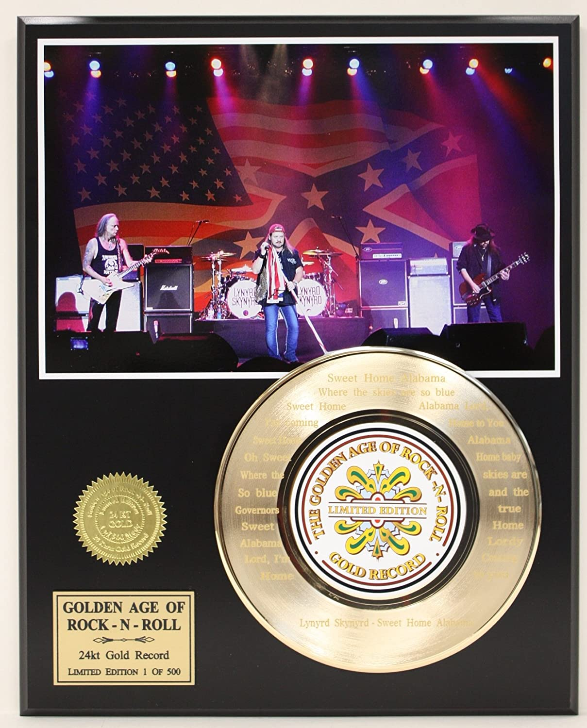 Lynryd Skynrd Laser Etched With the the Lyrics to'Sweet Home Alabama' Limited Edition Gold Record Display Gold Record Outlet