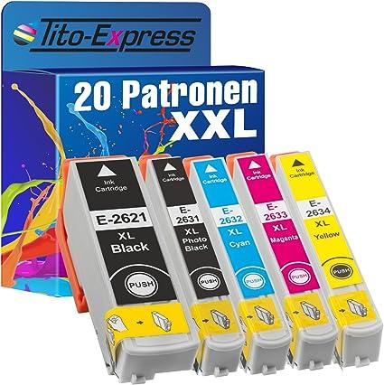 Tito Express Platinumserie 20 Patronen Xxl Kompatibel Mit Epson T2621 T2631 T2632 T2633 T2634 26xl Für Epson Expression Premium Xp 510 520 600 605 610 615 620 625 700 710 720 800 810 820 Bürobedarf Schreibwaren