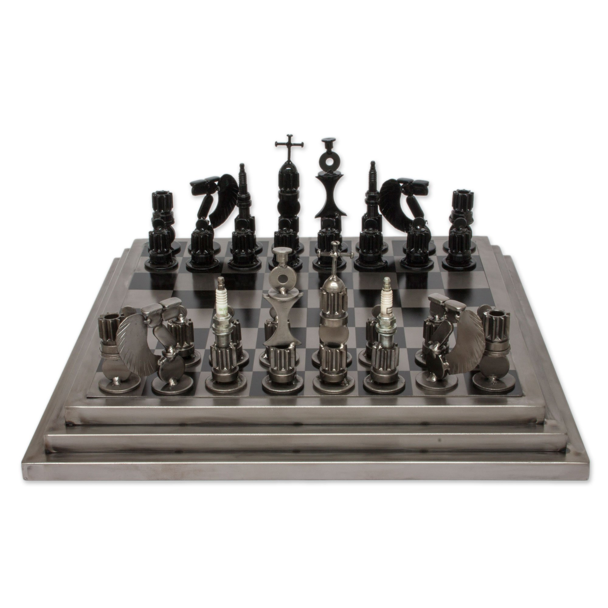 NOVICA Recycled Metal Auto Parts Steel Chess Set, 'Rustic Warriors'