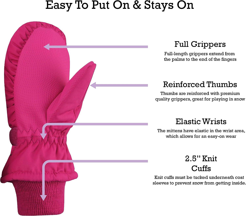 NIce Caps Kids Thinsulate Waterproof Reflector Winter Snow Ski Mittens 2-3 Years, Pink//Reflector Hearts