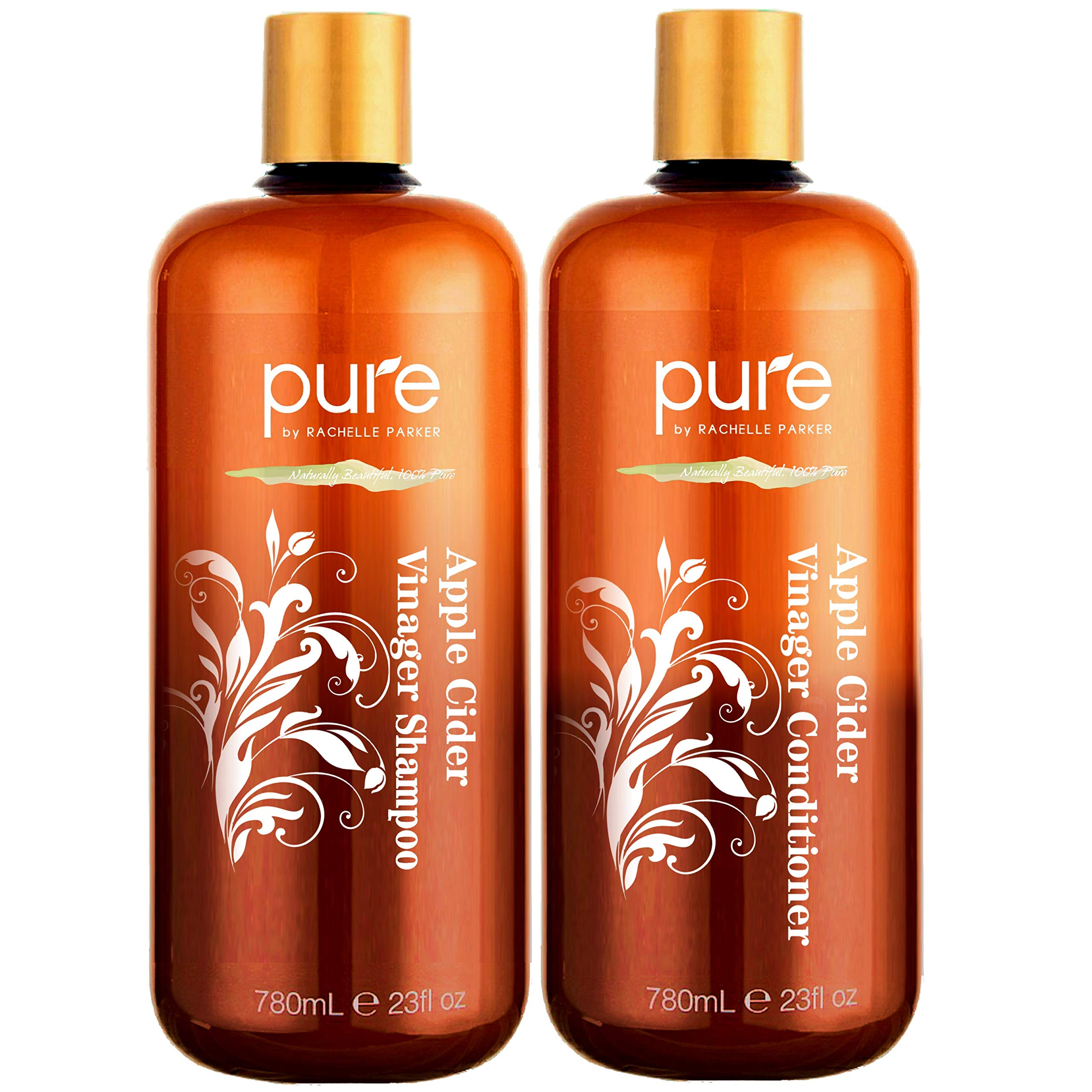 Apple Cider Vinegar Shampoo and Conditioner Set. Sulfate Free Shampoo Conditioner Set for Damaged, Oily Hair. Shampoo & Conditioner Combo Pack to Reduce Dandruff, Frizz, Split Ends, by Pure by Rachelle Parker