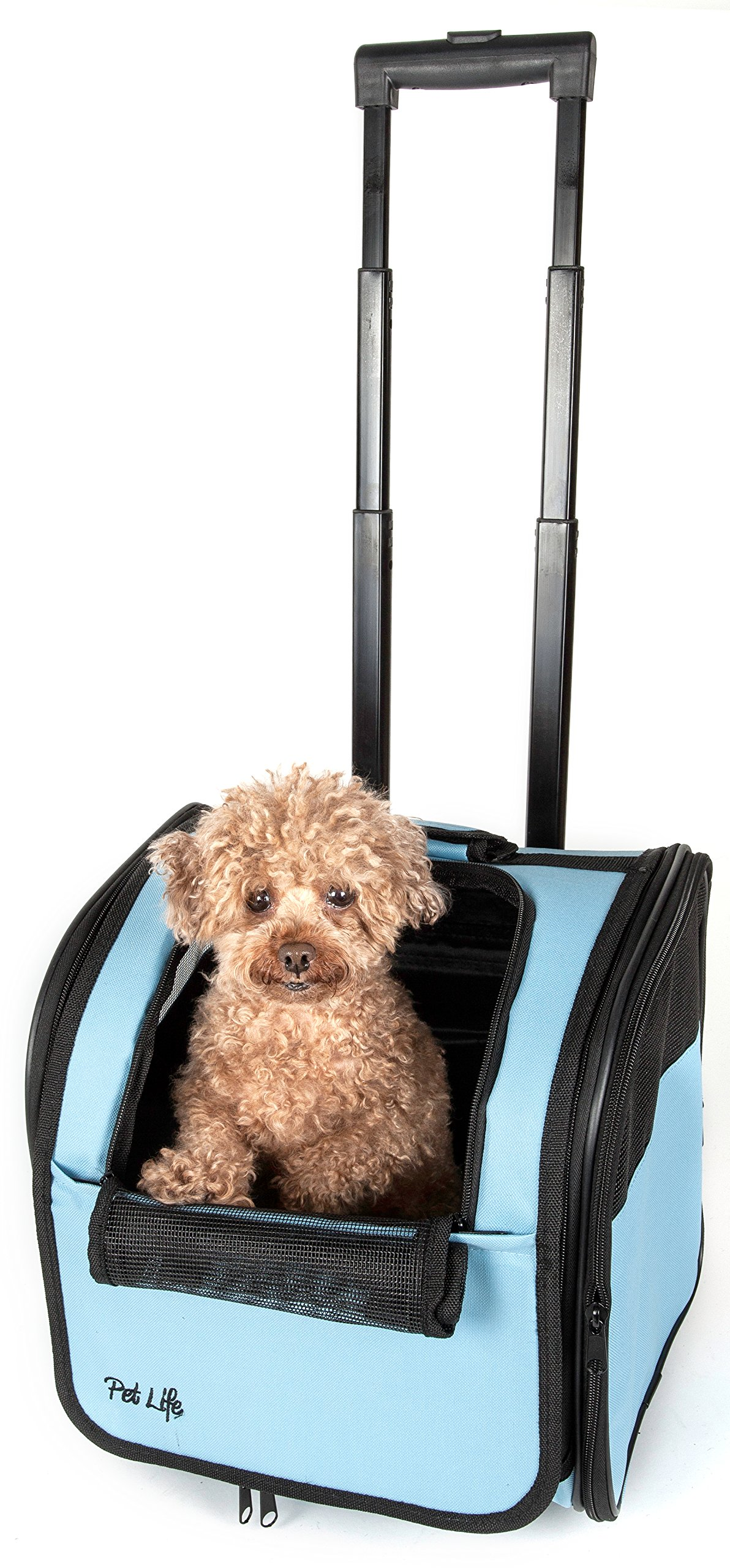 PET LIFE Wheeled Collapsible Breathable Airline Approved Travel Pet Dog Carrier, One Size, Blue