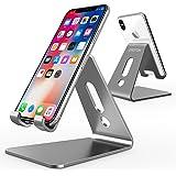 OMOTON - Supporto in alluminio universale per cellulare (tutte le dimensioni) e tablet (fino a 10,1 pol) [Grigio Siderale]