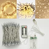 [Double Power Modes] Warm White LED Indoor battery operated String Light with Remote and Timer on 69ft Clear String (8 Modes, Dimmable, Auto Timer, 200 LEDs)
