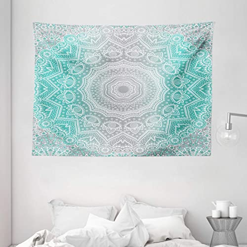 Ambesonne Grey and Turquoise Tapestry, Prehistoric Essence and Universe Harmony Mandala Ombre Art, Wide Wall Hanging for Bedroom Living Room Dorm, 80 X 60 , Teal Grey