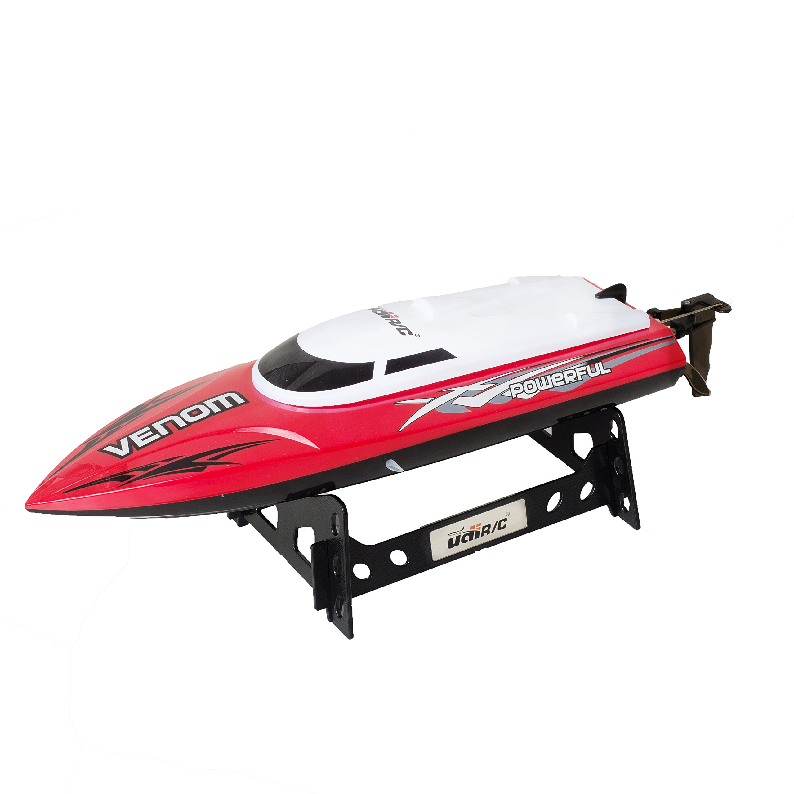 UDI001 Venom Remote Control Boat - High Speed Venom RC Boats for Adults - Remote Control Boats for Lakes with 2 Batteries (Rattlesnake Red)