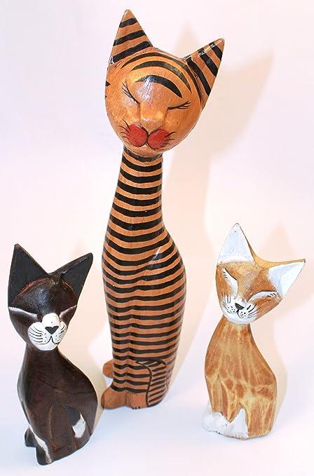 Madera tallada gatos Trio bebé,{1} grandes con forma de gato,{
