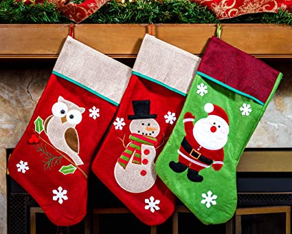 ab2a16b5fb5 Image Unavailable. Image not available for. Color  Imperial Home 3 Pcs Set  - Classic Christmas Stockings 18 quot  Cute ...