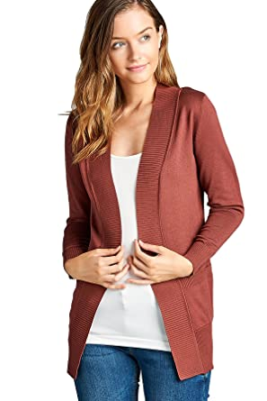 87871d1337 Women s Long Sleeve Cardigan Open Front Draped Sweater Rib Banded ...
