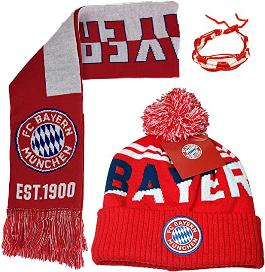 FC Bayern Munich pom beanie cap hat and scarf  Soccer Football Official winter 1