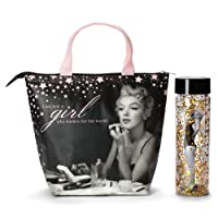 Marilyn Monroe Lunch Tote & Bottle: Insulated Lunch Bag and Gold Confetti Water...