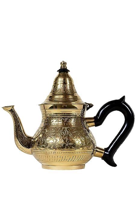 Tetera, Oriente, oriental, marroquí, de latón, plateado de Marruecos (bejan - 400 ml Oro)