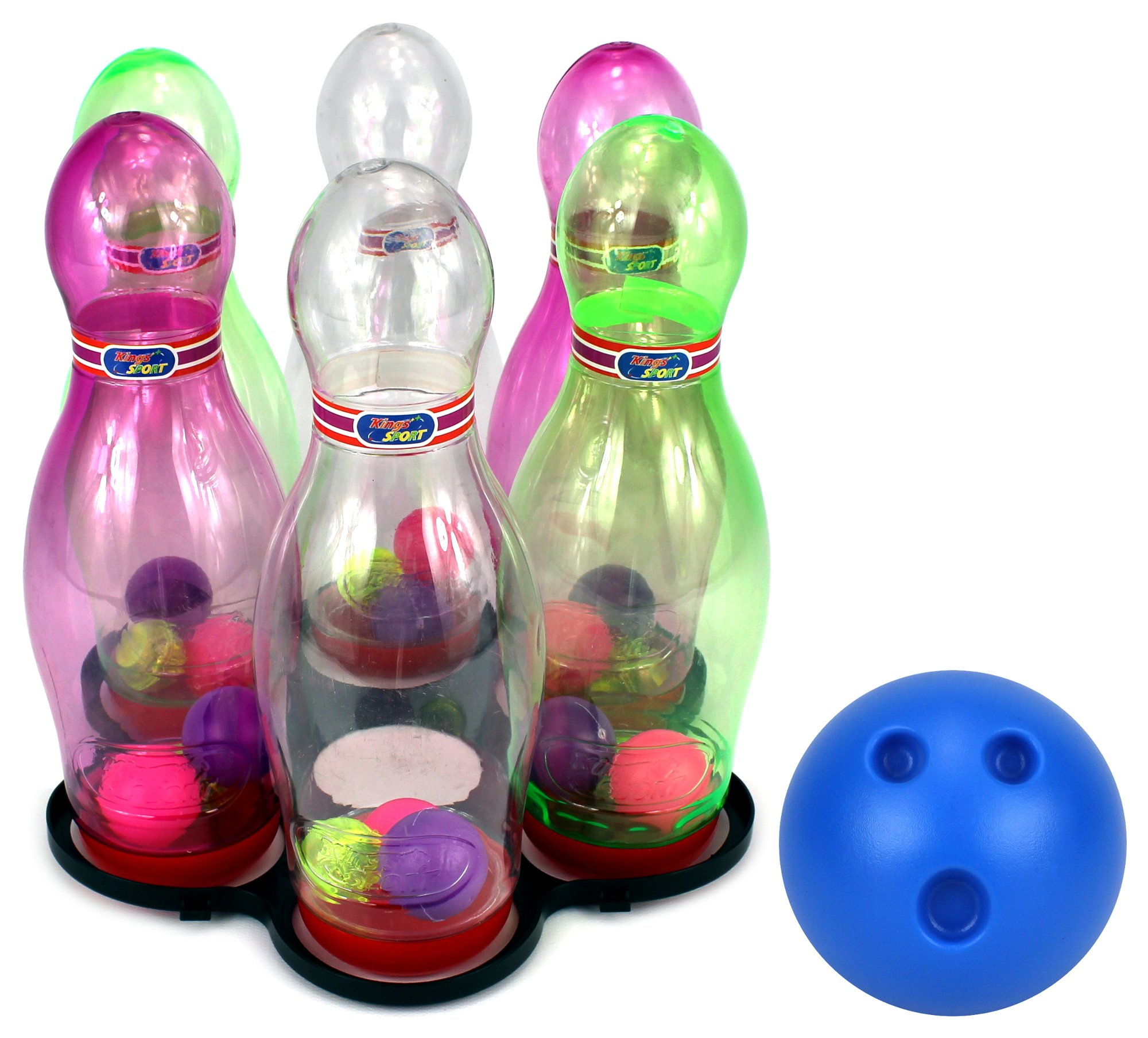 VT See Through Light Up Children's Toy Bowling Playset w/ 6 Pins, Bowling Ball