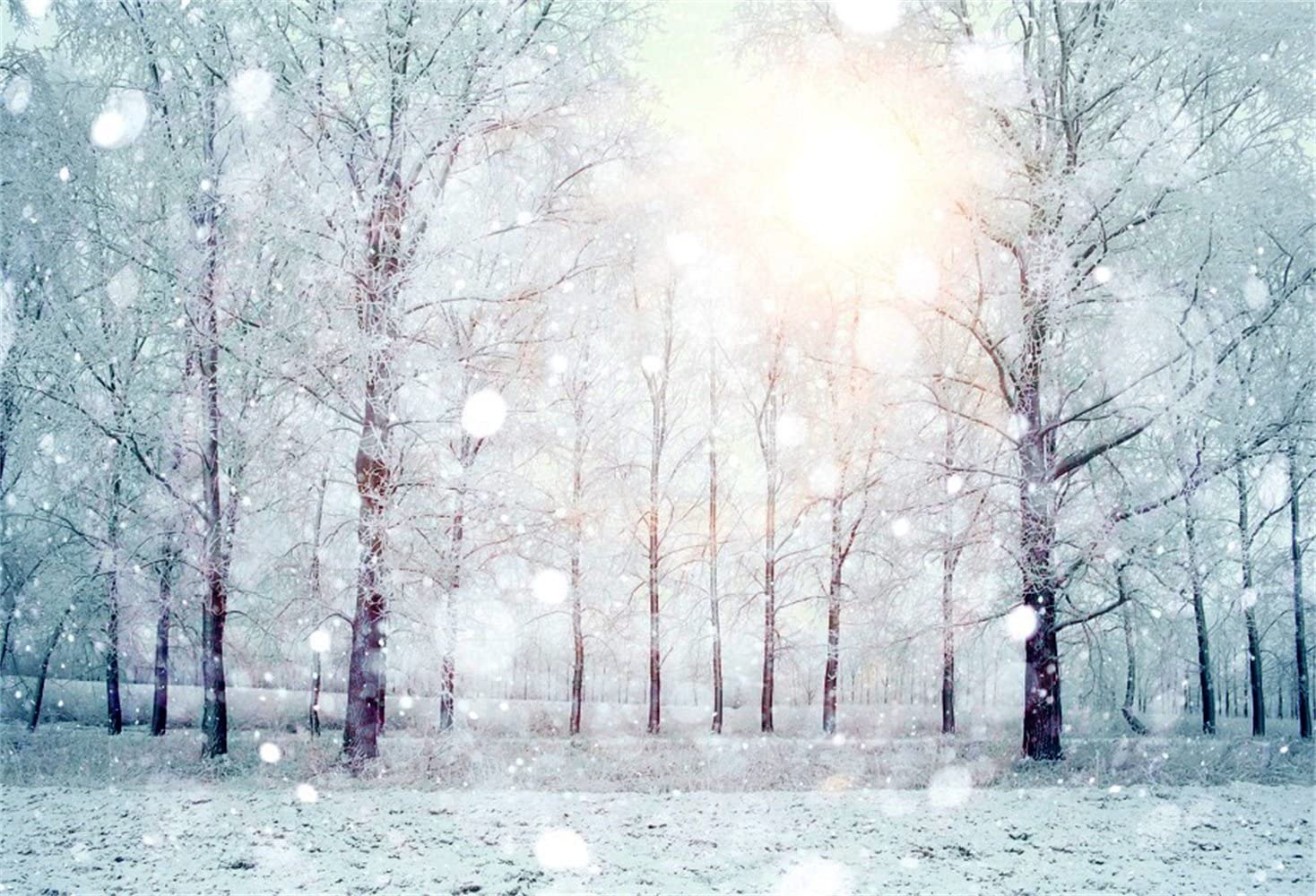 Dreamlike Snowy Forest Backdrop Polyester 10x6.5ft Snow Capped Trees Shiny Sunshine Bokeh Haloes Background Xmas Party Banner Child Kids Baby Portrait Shoot Wallpaper